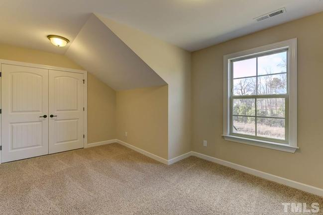 carpeted bonus room with backyard view