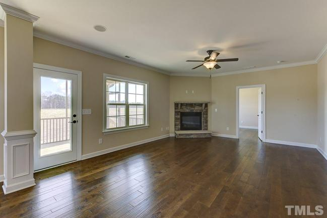 family room with walkout and fireplace
